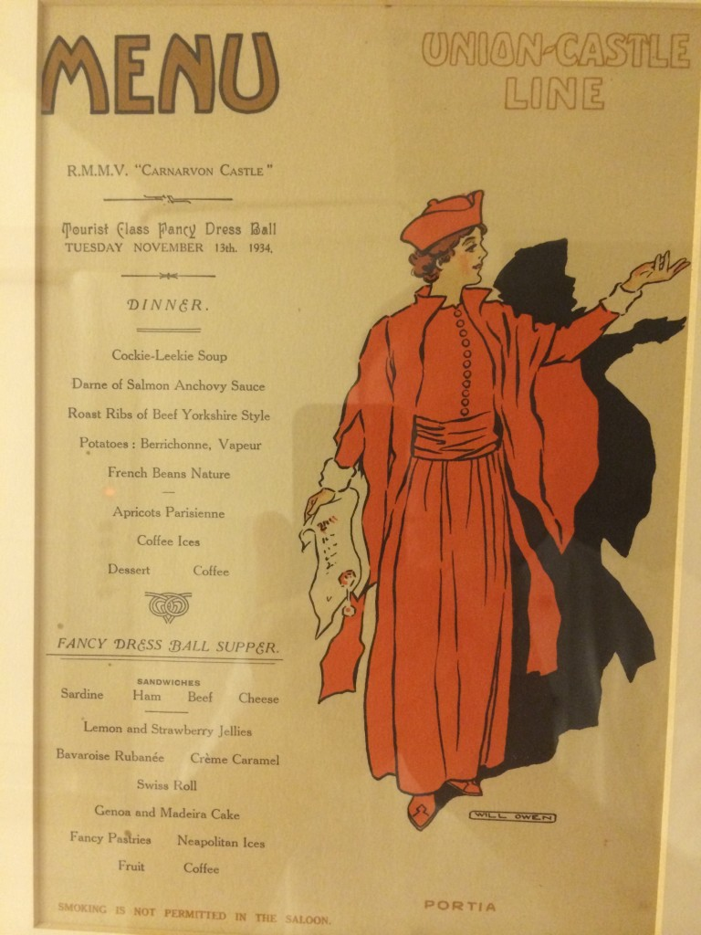 Union Castle line Menu