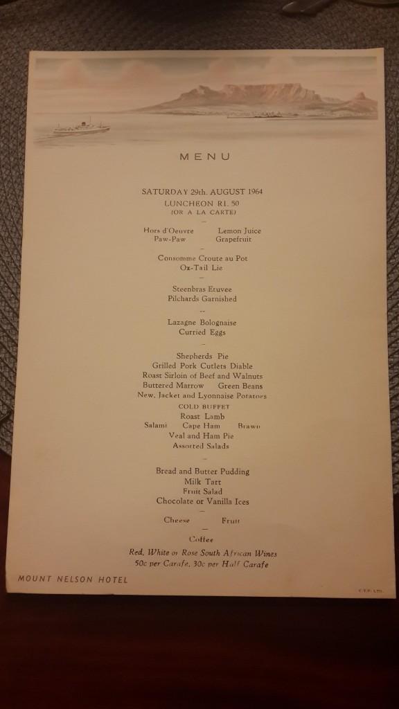menu 1964