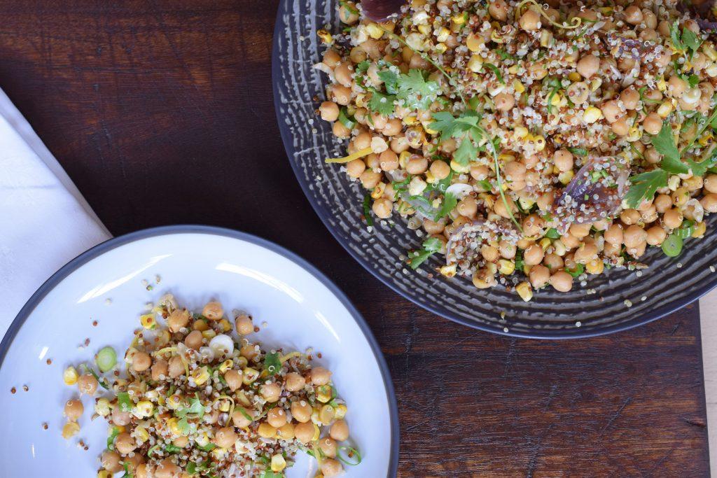 Chickpea Salad w Fennel Seeds, Quinoa & Corn